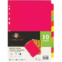 Concord Blank Dividers A4 Assorted 10 Part Perforated Manilla Blank 10 Pieces