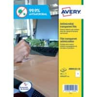 Avery AM001A3-10 Antimicrobial Film Self Adhesive 277 x 400 mm Transparent 10 Sheets of 1 Label