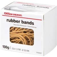 Office Depot Rubber Bands 1.5 x 150mm Ø 100mm Natural 100g