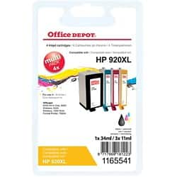 Office Depot Compatible HP 920XL Ink Cartridge c2n92ae Black & 3 Colours 4 pieces
