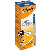 BIC Cristal Clic Retractable Ballpoint Pen Medium 0.4 mm Blue Pack of 20