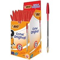 BIC Cristal Ballpoint Pen Medium Point 1.0mm Red Pack of 50