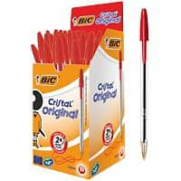 BIC Cristal Original Ballpoint Pen Medium 0.4 mm Red Pack of 50
