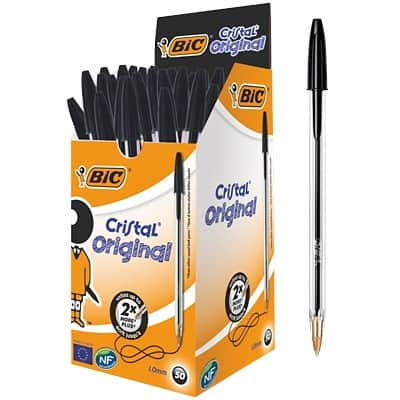BIC Cristal Ballpoint Pen Medium Point 1.0mm Black Pack of 50