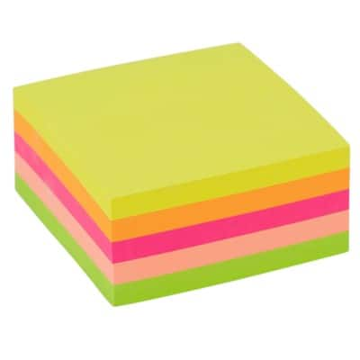 Office Depot Sticky Note Cube 76 x 76 mm Assorted Neon 400 Sheets
