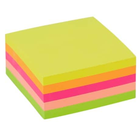Office Depot Cube - Assorted Neon - 76 x 76 mm