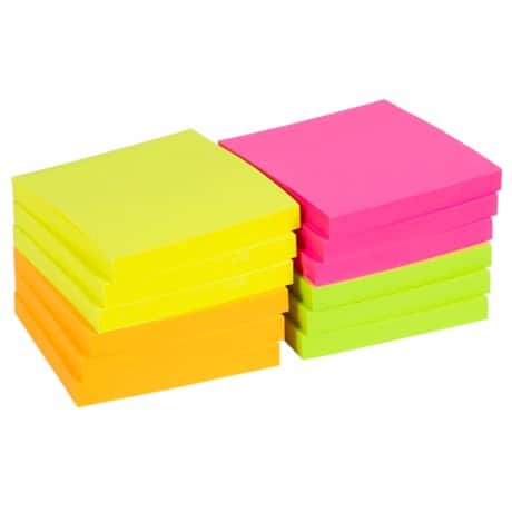 Office Depot Sticky Notes Assorted 76 x 76 mm 75gsm 12 pieces of 100 sheets