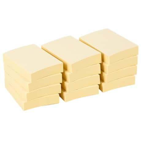 Office Depot Sticky Notes 51 x 38 mm Pastel Yellow 12 Pieces of 100 Sheets