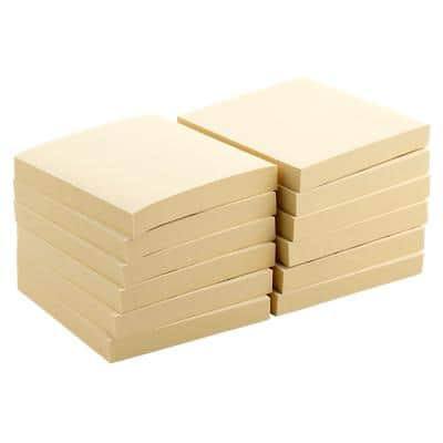 Office Depot Sticky Notes 76 x 76 mm Pastel Yellow Pack of 12 of 100 Sheets