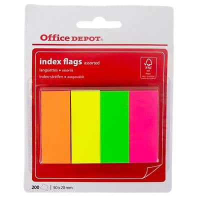 Office Depot Index Flags Assorted Plain 20 x 50 mm 200 Strips
