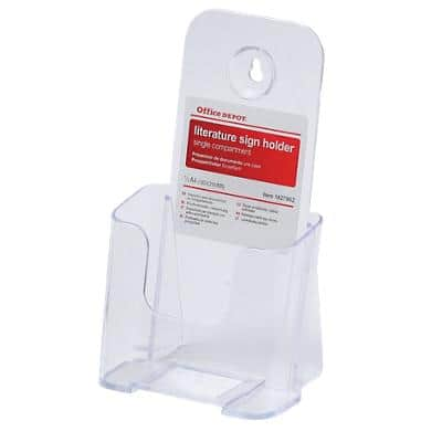 Office Depot Single Tier Literature Holder A4 Transparent Plastic 11.3 x 8 x 20.7 cm