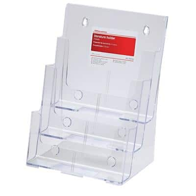 Office Depot Portrait Literature Display 3 Tier A4 Transparent Plastic 230 x 160 x 320mm