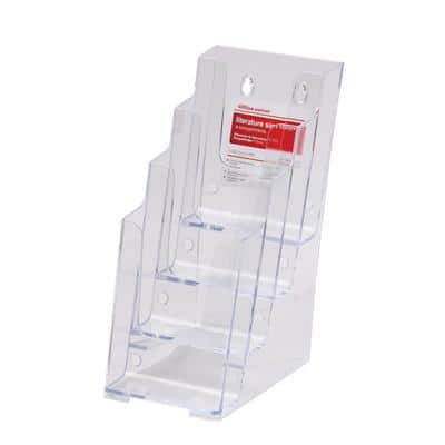 Office Depot Literature Holder 1/3 A4 Transparent Plastic 10.8 x 25.4 x 25.4 cm