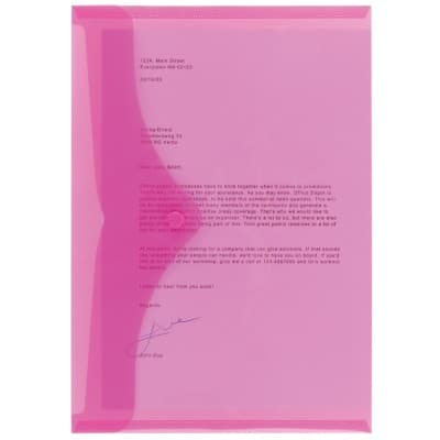 Office Depot Document Wallets A4 Transparent Pink Polypropylene 23.5 x 33.5 cm 5 Pieces