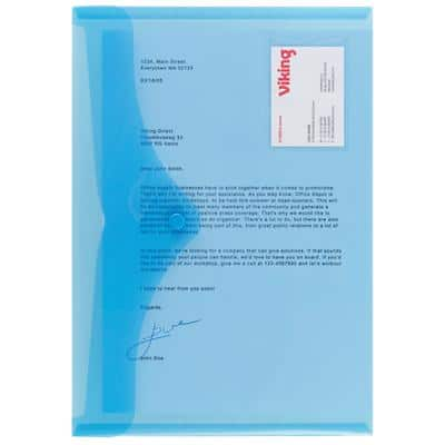 Office Depot Document Wallets Business Card Holder A4 Blue Polypropylene 23.5 x 33.5 cm 5 Pieces