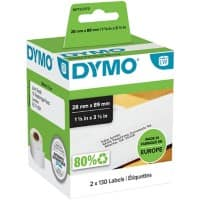 DYMO LW Address Labels 99010 Black on White 28 x 89 mm 2 Rolls of 130 Labels