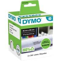 DYMO LW Address Labels S0722400 Black on White 36 x 89 mm 2 Rolls of 260 Labels