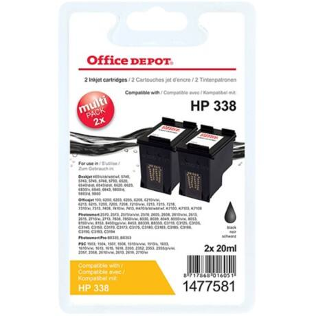 Office Depot Compatible HP 338 Ink Cartridge c8765e Black 2 pieces