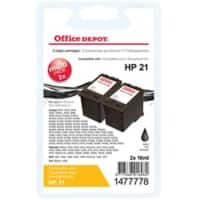 Office Depot Compatible HP 21 Ink Cartridge C9351AE Black Pack of 2