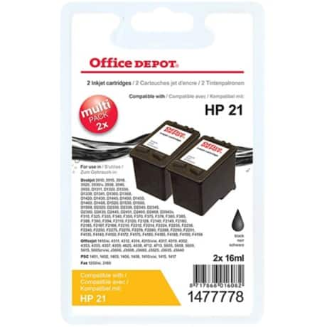 Office Depot Compatible HP 21 Ink Cartridge c9351ae Black 2 pieces