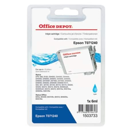 Office Depot Compatible Epson T0712 Ink Cartridge T071240 Cyan