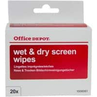 Office Depot Screen Wipes White 20 Pieces