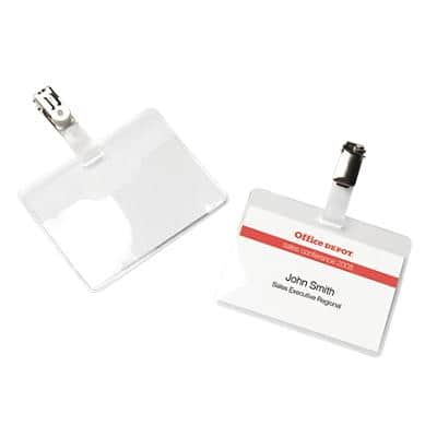 Office Depot Standard Name Badge with Clip Landscape 90 x 60mm 25 Pieces