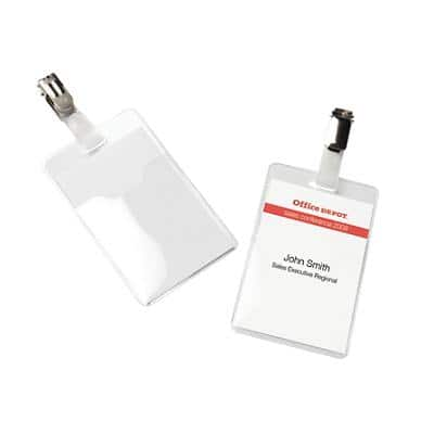 Office Depot Standard Name Badge with Clip Portrait 60 x 90 mm Pack of 50