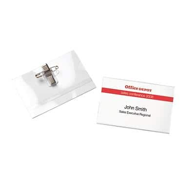 Office Depot Standard Name Badge with Crocodile Clip and Pin Landscape 90 x 60 mm Pack of 25