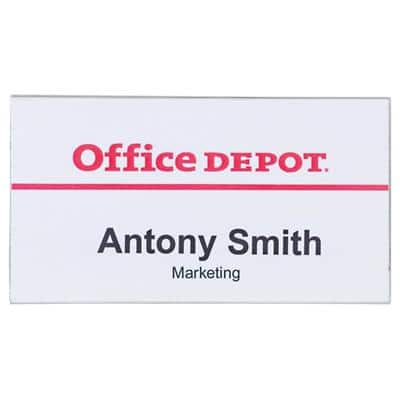 Office Depot Standard Name Badge with Combi Clip Landscape 75 x 40mm 50 Pieces