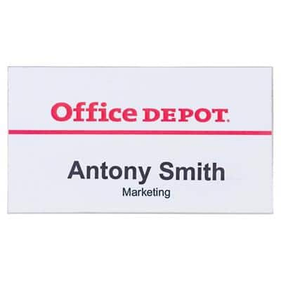 Office Depot Standard Name Badge with Pin Landscape 75 x 40mm 50 Pieces