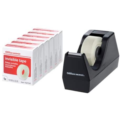 Office Depot Small Core Tape Dispenser with 6 Rolls of Tape (19 mm x 33 m)