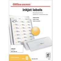 Office Depot Inkjet Labels Self Adhesive 63.5 x 38.1 mm White 100 Sheets of 21 Labels