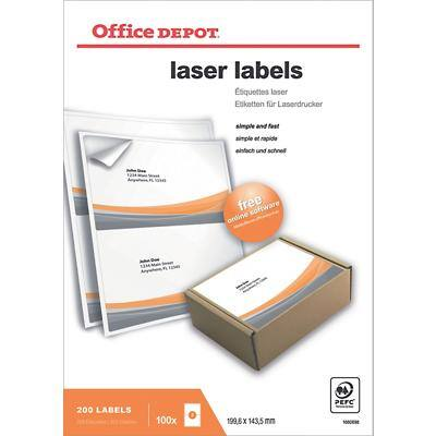 Office Depot Laser Labels Self Adhesive 199.6 x 143.5 mm White 200 Labels