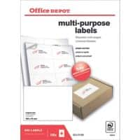 Office Depot Multipurpose Labels Self Adhesive 105 x 74 mm White 100 Sheets of 8 Labels