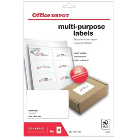 Office Depot Multipurpose Labels Round Corners White 320 labels per pack