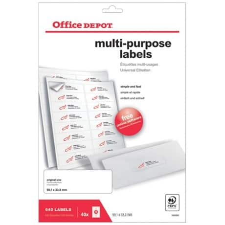 Office Depot Multipurpose Labels Rounde White 640 labels per pack