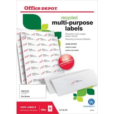 Office Depot 1671743 Multipurpose Labels 70 x 36 mm White 36 x 70 mm 100 Sheets of 24 Labels