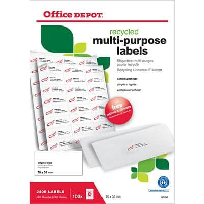 Office Depot 1671743 Multipurpose Labels White 70 x 36 mm 100 Sheets of 24 Labels