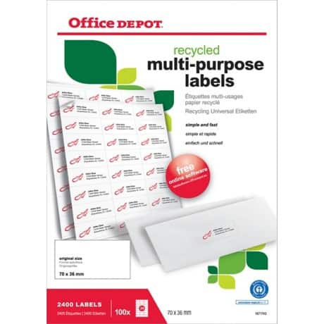Office Depot Multipurpose Labels Right Angles White 2400 labels per pack