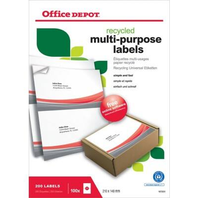 Office Depot Multipurpose Labels Square Corners White 200 labels per pack