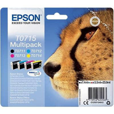 Epson T0715 Original Ink Cartridge C13T07154012 Black & 3 Colours 4 Pieces