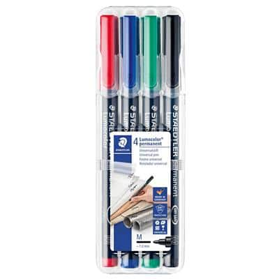 STAEDTLER 317WP4 OHP Marker Medium Round Assorted Pack of 4