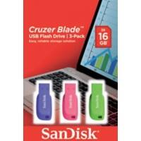 SanDisk USB 2.0 Flash Drive Cruzer Blade 16 GB Blue, Green, Pink 3 Pieces