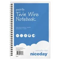 Niceday A5 Wirebound Blue Paper Cover Notebook Squared Blue 100 Pages Pack of 5