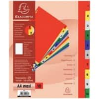 Exacompta Dividers 84E A4+ Assorted 10 Part Polypropylene 1 to 10