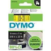DYMO Labelling Tape 40918 9 mm x 7 m Black , Yellow
