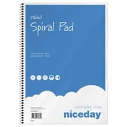 Niceday Spiral Pad Blue, White Ruled unperforated A4 Pack 5