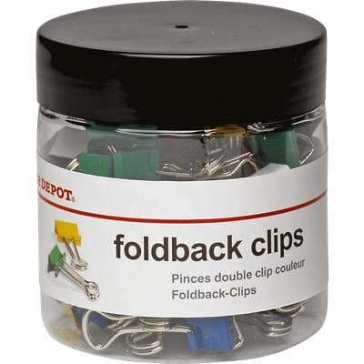 Office Depot Foldback Clips Assorted 19 mm Pack of 50