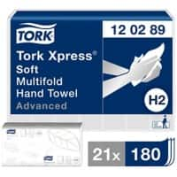 Tork Hand Towels H2 Xpress Soft Multifold 2 Ply White 180 Sheets Pack of 21